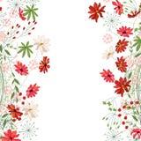 Gedetailleerd contour vierkant kader met kruiden, madeliefje en andere die bloemen op wit worden geïsoleerd Groetkaart voor uw on vector illustratie