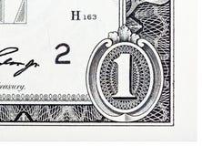 Gedetailleerd die element op een één dollarrekening wordt gebaseerd Stock Afbeeldingen