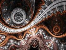 Gedetailleerd fractal uurwerk royalty-vrije illustratie