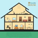 Gedetailleerd huis in besnoeiing Verschillend modern meubilairbinnenland Vlakke stijl vectorillustratie Stock Foto's