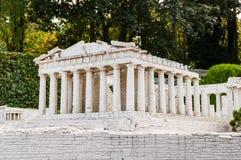 Gedetailleerd miniatuurmodel van Parthenon in Akropolis, Athene stock afbeeldingen