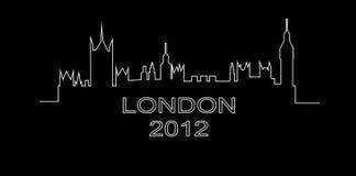 Gedetailleerd overzicht van een silhouet van Londen Stock Afbeeldingen