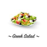 Gedetailleerd Pictogram Griekse Salade Stock Afbeelding