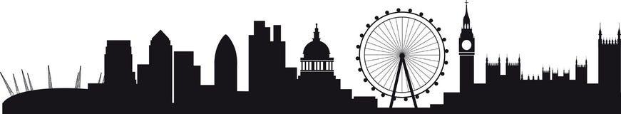 Gedetailleerd silhouet van Londen horizon Stock Foto's