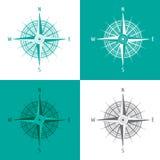 Gedetailleerd vastgesteld Kompas Windrose op wit Royalty-vrije Stock Foto