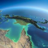 Gedetailleerde Aarde. Australië en Papoea-Nieuw-Guinea Stock Foto