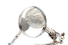 Gedetailleerde analyse van munten royalty-vrije stock foto's