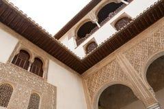 Gedetailleerde architectuur van het Alhambra paleis Royalty-vrije Stock Afbeeldingen