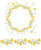 Gedetailleerde contourkroon en naadloze die patroonborstel met dangelions en kruiden op wit wordt geïsoleerd Eindeloze horizontal Royalty-vrije Stock Foto
