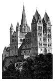Gedetailleerde de houtsnedeaf:drukken van Limburg Kathedraal Stock Afbeeldingen