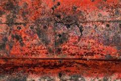 Gedetailleerde dichte omhooggaande textuur van bruine en witte roestige metaaloppervlakten in hoge resolutie royalty-vrije stock fotografie