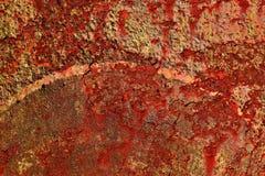 Gedetailleerde dichte omhooggaande textuur van bruine en witte roestige metaaloppervlakten in hoge resolutie stock afbeelding