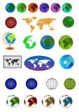 Het pictogramreeks van de kaart en van de bol Royalty-vrije Stock Fotografie
