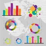 Gedetailleerde elementen van informatie-grafiek met markeringen Stock Afbeelding