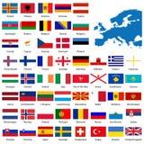 Gedetailleerde Europese vlaggen en ma Royalty-vrije Stock Afbeeldingen