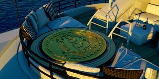 Gedetailleerde Extremeley en realistische 3D illustratie van een luxe Super Jacht die een grote Bitcoin vervoeren Stock Afbeelding