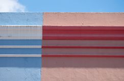 Gedetailleerde foto van huizen in het Maleisische Kwart, BO Kaap, Cape Town, Zuid-Afrika Historisch gebied van helder geschilderd stock foto
