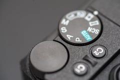 Gedetailleerde foto van zwart cameralichaam met knopen Royalty-vrije Stock Afbeeldingen