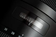 Gedetailleerde foto van zwarte lens met knopen Royalty-vrije Stock Foto