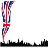 Gedetailleerde het silhouethorizon van Londen met vlag Stock Afbeelding
