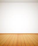 Gedetailleerde houten vloer en witte muur Stock Foto's