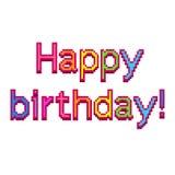 Gedetailleerde illustratie geïsoleerde vector van de pixel de gelukkige verjaardag tekst stock illustratie