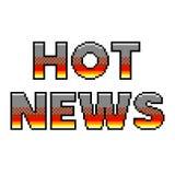 Gedetailleerde illustratie geïsoleerde vector van het pixel de hete nieuws tekst royalty-vrije illustratie