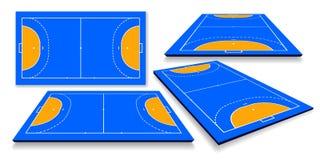 Gedetailleerde illustratie van een handbalgebied, cort met perspectief, eps10-vector royalty-vrije illustratie