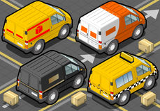 Gedetailleerde illustratie van een Isometrische Leveringsvrachtwagen en een Taxi in Achtermening Royalty-vrije Stock Afbeeldingen
