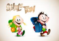 Gedetailleerde Illustratie van twee jonge gelukkige kindgoi royalty-vrije illustratie