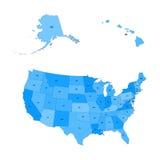 Gedetailleerde kaart van de Verenigde Staten, met inbegrip van Alaska en Hawaï Royalty-vrije Stock Foto