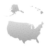 Gedetailleerde kaart van de Verenigde Staten, met inbegrip van Alaska en Hawaï Stock Fotografie