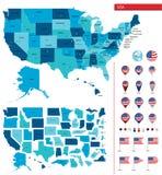 Gedetailleerde kaart van de Verenigde Staten van Amerika Grote sities Pictogrammen, plaatsindicatoren Stock Foto's