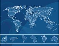 Gedetailleerde kaart van de wereld Royalty-vrije Stock Foto