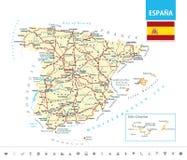 Gedetailleerde kaart van Spanje Stock Afbeeldingen