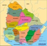 Gedetailleerde kaart van Uruguay met gebieden royalty-vrije illustratie