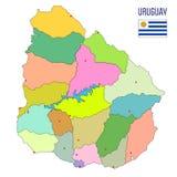 Gedetailleerde kaart van Uruguay met gebieden stock illustratie