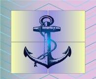 Gedetailleerde kunstaffiche - overzeese stijl, blauw anker Royalty-vrije Stock Afbeelding
