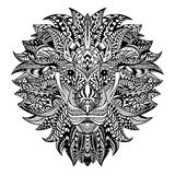 Gedetailleerde Leeuw in Azteekse stijl Gevormd hoofd op achtergrond Het Afrikaanse Indische ontwerp van de totemtatoegering Vecto Royalty-vrije Stock Foto's
