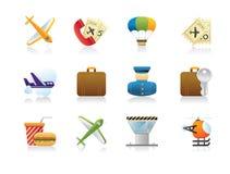 Gedetailleerde luchthavenpictogrammen - geef terug Stock Afbeelding