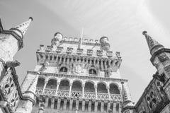 Gedetailleerde mening van de Toren openbaar monument van Belem van Lissabon beroemd Stock Afbeeldingen