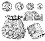 Gedetailleerde muntbankbiljetten of Amerikaans Franklin Green 100 dollars of contant geld en muntstuk gegraveerde die hand in oud Stock Fotografie