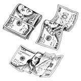 Gedetailleerde muntbankbiljetten of Amerikaans Franklin Green 100 dollars of contant geld en muntstuk gegraveerde die hand in oud Stock Foto's