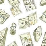 Gedetailleerde muntbankbiljetten of Amerikaans Franklin Green 100 dollars of contant geld en muntstuk gegraveerde die hand in oud Royalty-vrije Stock Afbeelding