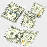 Gedetailleerde muntbankbiljetten of Amerikaans Franklin Green 100 dollars of contant geld en muntstuk gegraveerde die hand in oud Royalty-vrije Stock Fotografie