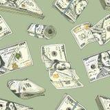 Gedetailleerde muntbankbiljetten of Amerikaans Franklin Green 100 dollars of contant geld en muntstuk gegraveerde die hand in oud Stock Afbeelding