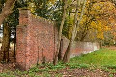 Gedetailleerde oude rode bakstenen muur in het bos Stock Foto