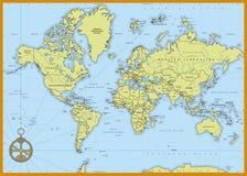 Gedetailleerde politieke wereldkaart Royalty-vrije Stock Afbeelding
