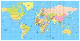 Gedetailleerde politieke Wereldkaart: landen, steden, watervoorwerpen stock afbeelding
