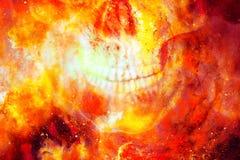Gedetailleerde schedelmond op kleuren kosmische abstracte achtergrond Brandeffect Royalty-vrije Stock Foto's